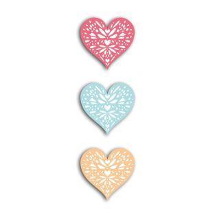 24 formas cortadas corazones - coral-pesca-azul