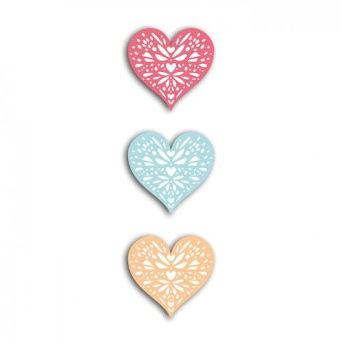 24 formes découpées cœurs corail-pêche-bleu