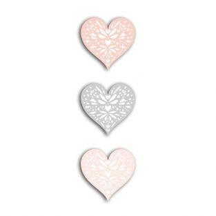 24 formes découpées cœurs rose-gris