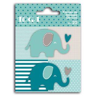 20 shapes cut elephants blue-gray
