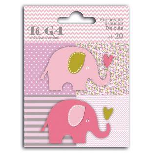 20 shapes cut elephants pink-green-gray