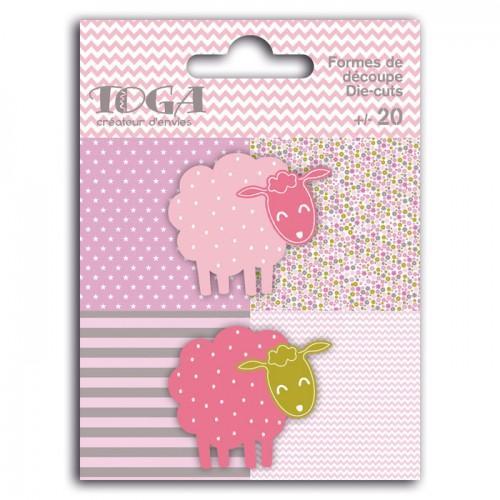 20 formes découpées moutons rose-vert taupe