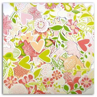 70 formas cortadas - rosa-verde