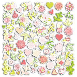 70 formes découpées - rose-vert
