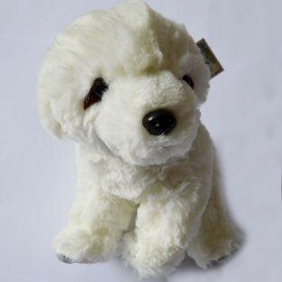 Peluche doudou chien blanc 25 cm