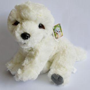 Peluche doudou chien blanc 16 cm