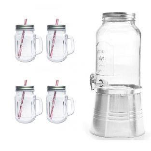 Dispensador de bebidas + 4 tazas Mason Jar