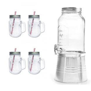 Distributeur de boisson vintage + 4 mugs Mason Jars