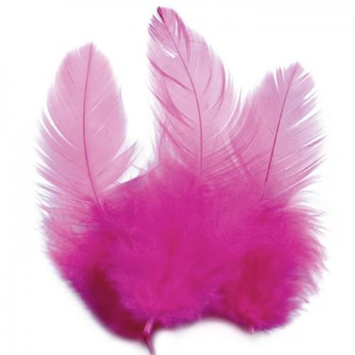 Plumas de gallo 10 cm - rosa vivo