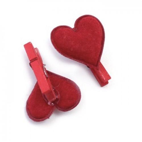 6 mini pinzas - corazones rojos