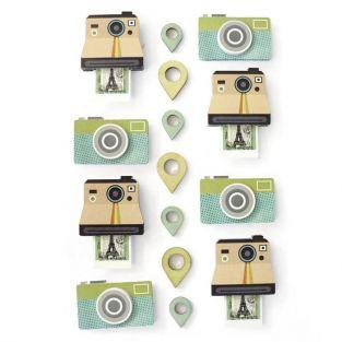 15 stickers polaroid effet 3D