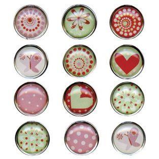 12 magnets Epoxy cœurs et motifs 10 cm