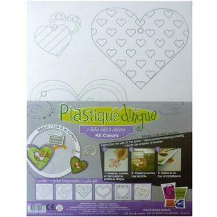 2 shrink plastic sheets Hearts + 6 keychains