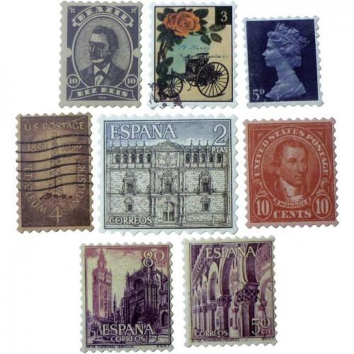 24 shapes cut - vintage stamps