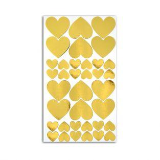 36 golden hearts stickers