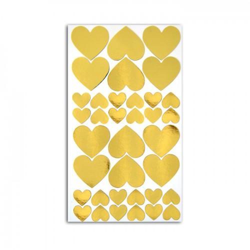 36 stickers cœurs dorés