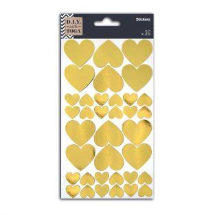 36 pegatinas corazones dorados