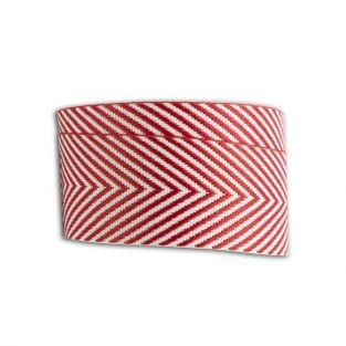 Ribbon with red and white herringbones - 4 m