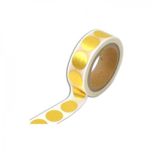 Masking tape blanco con rondas doradas - 10 m