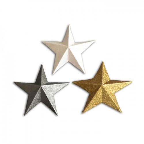 12 étoiles 3D en bois à paillettes - doré & blanc