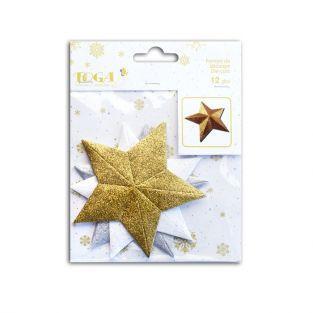 Wooden 3D stars with glitter x 12 - golden & white
