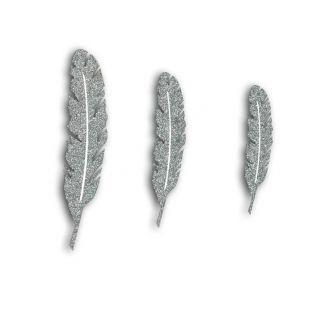 12 plumes en bois à paillettes - argenté