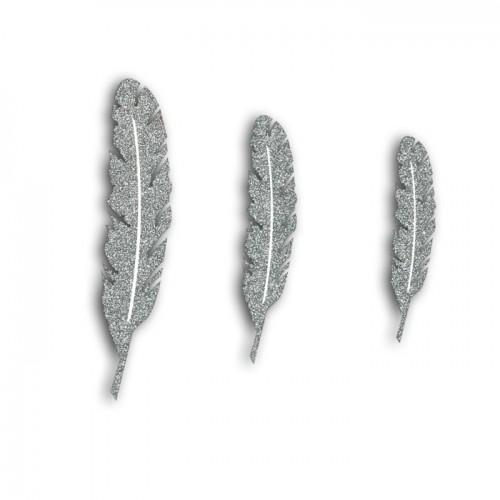 12 wooden feathers with glitter - silver