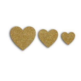 12 hearts with glitter - golden