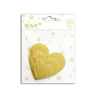 12 coeurs à paillettes - doré