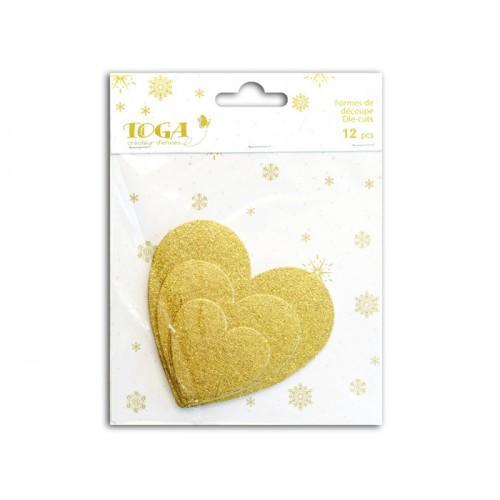12 coeurs en bois à paillettes - doré