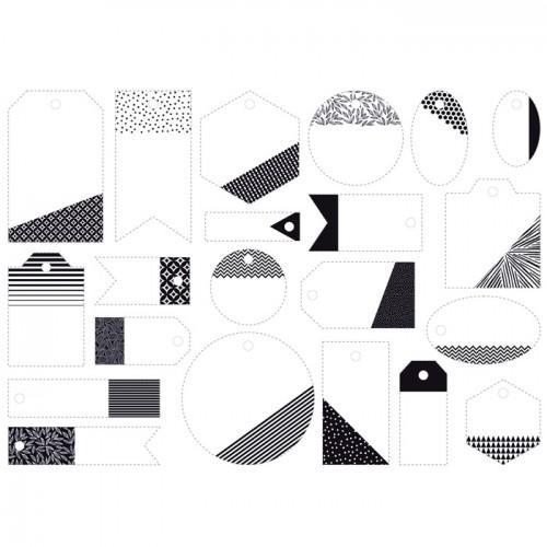21 étiquettes perforées - noir & blanc