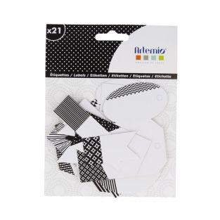 21 perforated labels - black & white