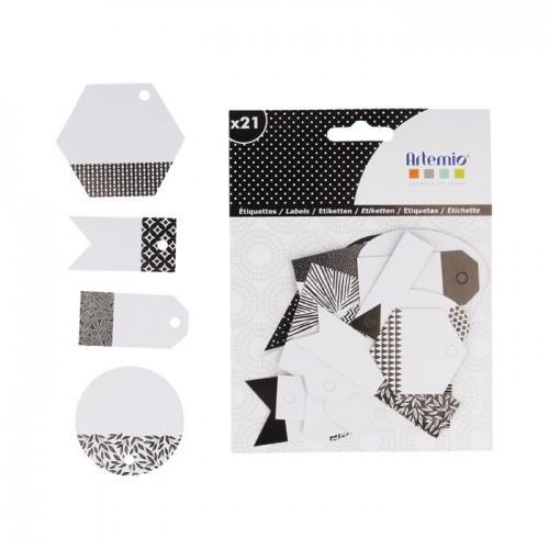 21 etiquetas perforadas - blanco y negro