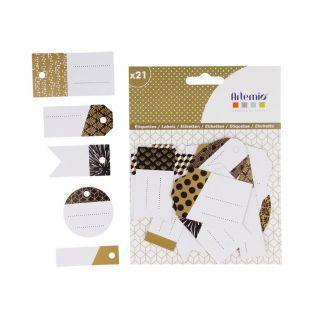 21 étiquettes perforées - noir, doré & blanc