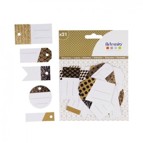 21 etiquetas perforadas - blanco-negro-dorado