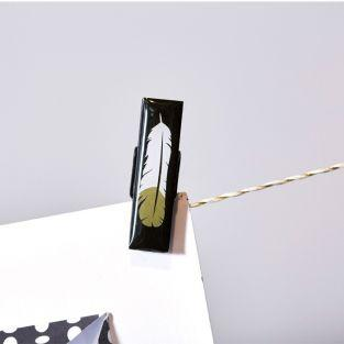 6 pinzas de madera epoxi - dorado-blanco-negro