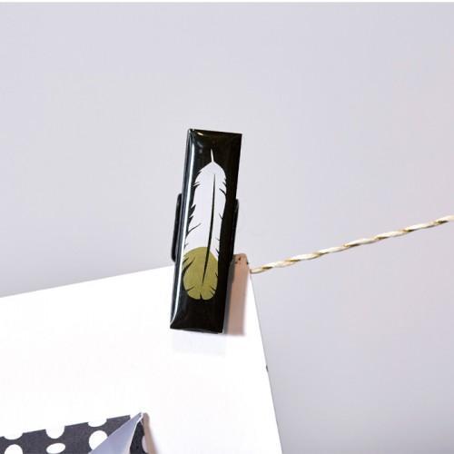 6 pinces à linge Epoxy - doré-noir-blanc