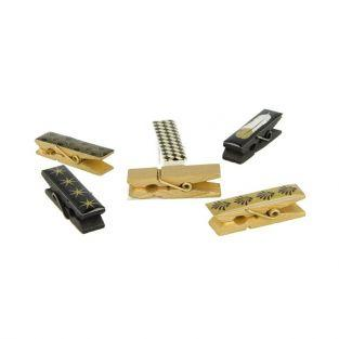 6 Epoxy clothespins - golden-black-white