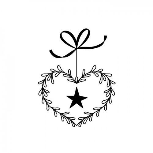 Tampon bois - Cœur-ruban-étoile