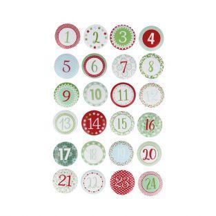 24 chiffres en bois pour calendrier de l'Avent