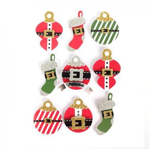 9 stickers 3D boules de Noël 5 cm