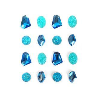 16 adhesive gems 20 mm - blue