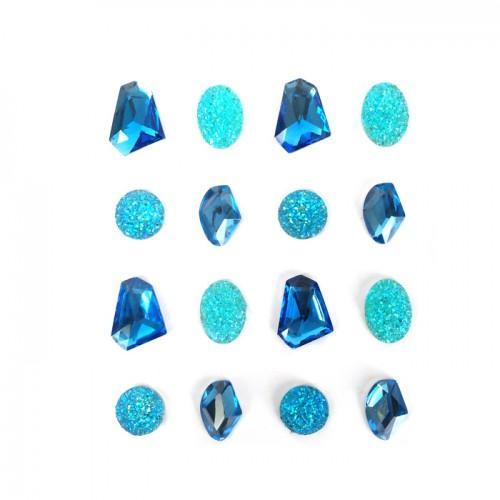 16 pierres précieuses adhésives bleues 20 mm