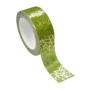 Masking tape verde y oro de metal 1,5 cm x 10 m