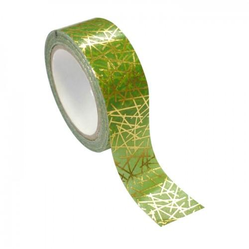 Green & golden Masking tape - geometric metal 1.5 cm x 10 m