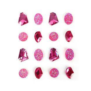 16 pierres précieuses adhésives rose 20 mm