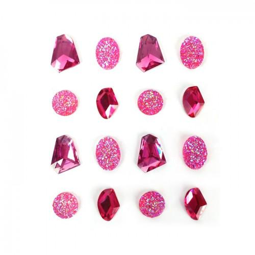 16 adhesive gems 20 mm - pink