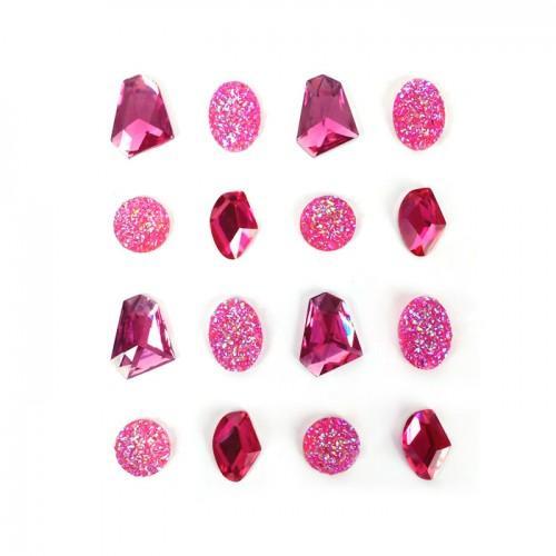 16 gemas adhesivas 20 mm - rosa