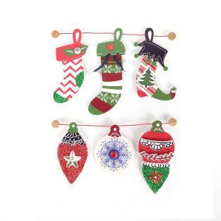 3D stickers Christmas boots 6,5 cm x 6
