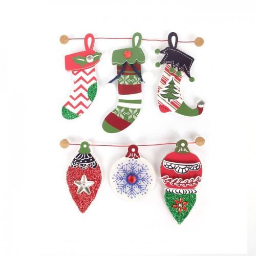 6 stickers 3D bottes de Noël 6,5 cm